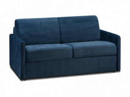Schlafsofa 2-Sitzer Samt CALIFE - Dunkelblau - Liegefläche: 120 cm - Matratzenhöhe: 14cm