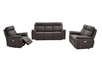 Relaxsofa elektrisch Garnitur 3+2+1 ISIRIS - Leder - Braun