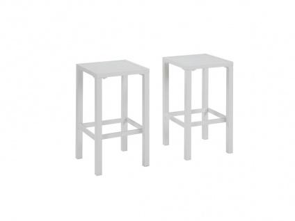 Garten Barhocker 2er-Set Aluminium WALPOLE - Weiß