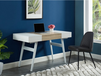 Schreibtisch ausziehbar MEDEINA - Holz & Metall - Weiß & Eiche