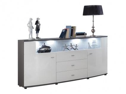 Sideboard mit LED-Beleuchtung SALY - 3 Schubladen & 2 Türen - Weiß - Vorschau 4