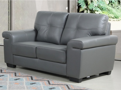 Ledersofa 2-Sitzer HAZEL - Grau