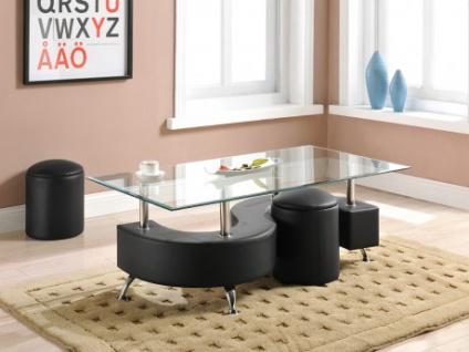Couchtisch Glas Ying + 2 Sitzhocker - Schwarz