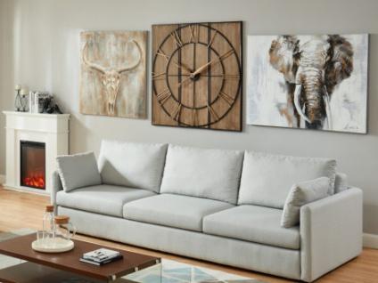 Wanduhr Industrie-Design Holz & Metall CHARLIE - Durchmesser: 113cm