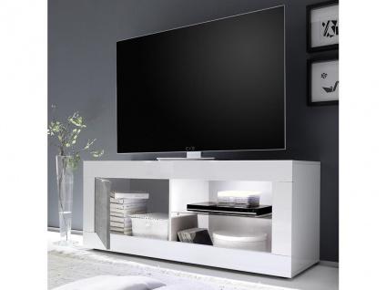 TV-Möbel mit LED-Beleuchtung COMETE - 1 Tür & 1 Ablage - Weiß lackiert & Betonfarben - Vorschau 2
