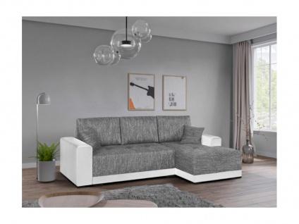 Ecksofa mit Schlaffunktion JARED II - Stoff & Kunstleder - Weiß & Grau meliert - Ecke rechts