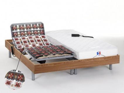 Matratzen elektrischer Lattenrost 2er-Set mit Okin-Motor Homere III - Eichenholz - 2x80x200 cm
