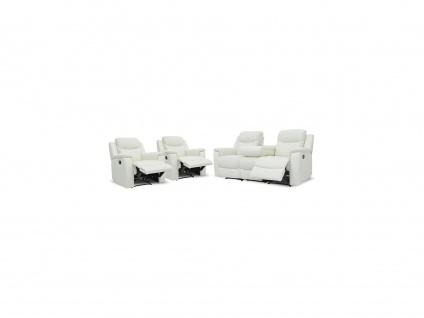 Ledergarnitur Relax Evasion 3+1+1 - Elfenbein-Weiß