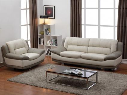 Couchgarnitur Leder 3+1 THOMAS - Elfenbein & Taupe
