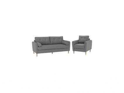 Couchgarnitur 3+1 FLEN - Stoff - Hellgrau - Vorschau 2