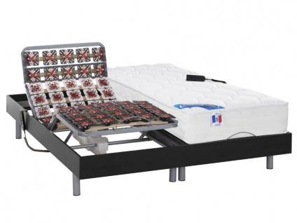 Matratzen elektrischer Lattenrost 2er-Set mit Tellermodulen Taschenfederkern & Memory Schaum PHANES - OKIN-Motoren - Schwarz - 2x80x200cm