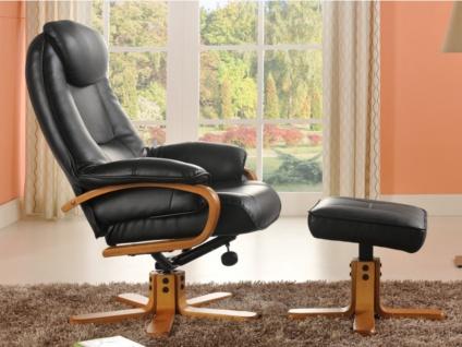 Relaxsessel Fernsehsessel + Sitzhocker Docia - Schwarz - Vorschau 3