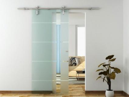 Glasschiebetür Stahlsystem Iskia - Höhe: 205 cm