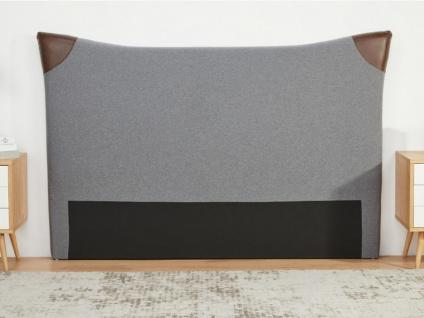 Kopfteil Bett ALESSIO - Stoff & Kunstleder - 160 cm - Grau