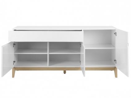 Sideboard Hochglanz SEDNA - 3 Türen + 1 Schublade - Weiß-Holzfarben - Vorschau 4