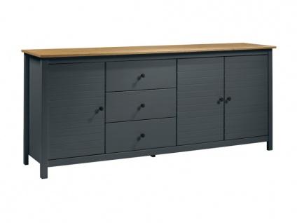 Sideboard NEWPORT - 3 Türen & 3 Schubladen - Blaugrau & Eiche - Vorschau 3
