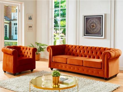 Couchgarnitur 3+1 Samt Chesterfield ANNA - Terrakotta
