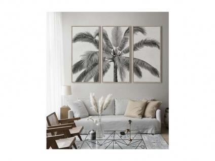 Kunstdruck gerahmt 3-teilig Triptychon PALMTREE - 180 x 120 x 4 cm - Schwarz & Weiß