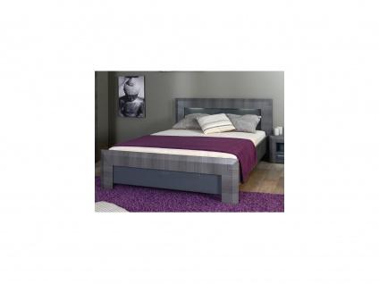 Bett mit LED-Beleuchtung BRITANY - Ulmenoptik grau - 140 x 190 cm