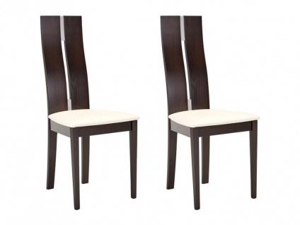 Stuhl 2er-Set Massivholz Salena - Wengefarben