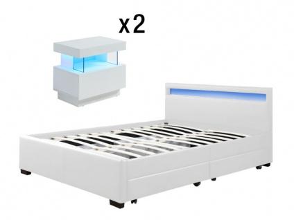 Sparset Schlafzimmer: Bett ALOIS - 140x190 cm + 2 Nachttische FABIO - Weiß
