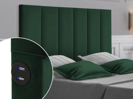Bett-Kopfteil mit USB-Anschlüssen INGA - 140 cm - Samt - Grün