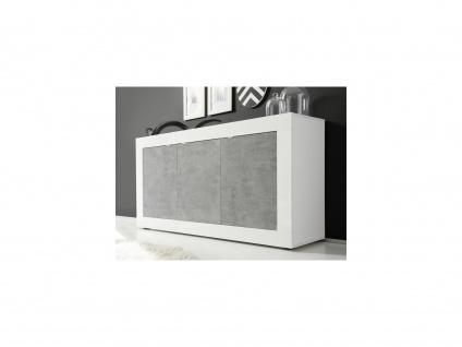 Sideboard COMETE - Weiß lackiert & Betonfarben - Vorschau 1
