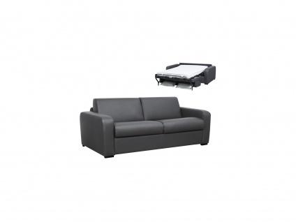 Schlafsofa mit Matratze 3-Sitzer BEVIS - Leder - Grau