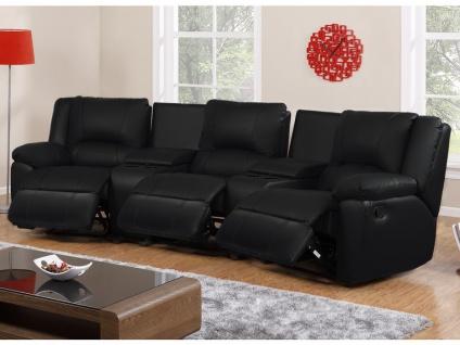 Relaxsofa 3-Sitzer AROMA - Leder - Schwarz