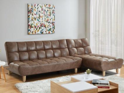 Modulierbares Sofa mit Bettfunktion Microfaser-Vintage-Look ESTEBAN - Braun