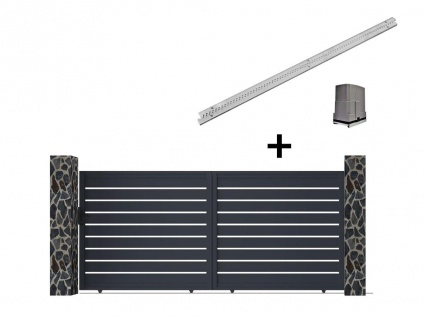 Gartentor Schiebetor PRIMO - Aluminium - mit Torantrieb - B392 x H176 cm