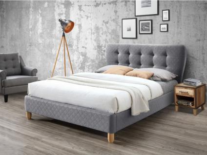 Polsterbett Stoff mit Lattenrost ELIDE - 140x190cm - Grau