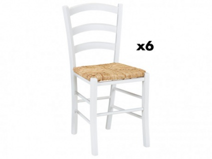 Stuhl 6er-Set Massivholz PAYSANNE - Weiß