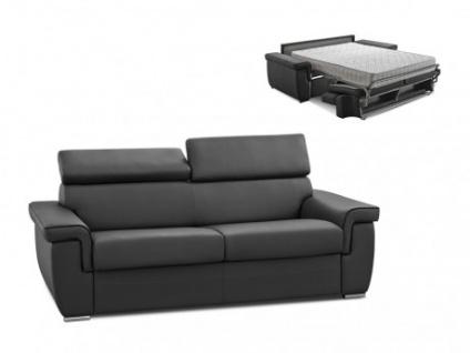 Schlafsofa 3-Sitzer ALTESSE - Anthrazit mit Ziernaht Schwarz - Liegefläche: 140cm - Matratzenhöhe: 18cm