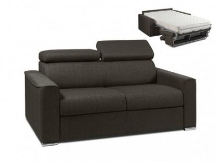 Schlafsofa 2-Sitzer Stoff VIZIR - Braun - Liegefläche: 120 cm - Matratzenhöhe: 18cm
