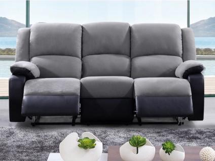 Relaxsofa Microfaser 3-Sitzer BILSTON - Grau/Schwarz