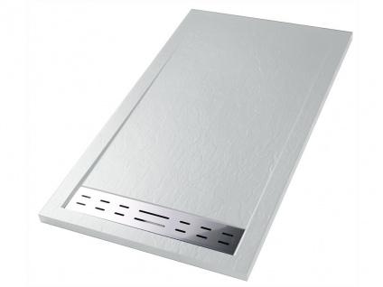 Duschwanne mit Siphon LYROS - 1600x800x40 mm - Weiß