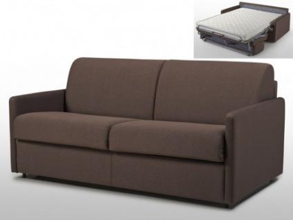 Schlafsofa 3-Sitzer Stoff CALIFE - Braun - Liegefläche: 140 cm - Matratzenhöhe: 14cm