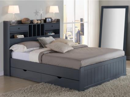 Holzbett mit Stauraum Mederick - 140x190cm - Grau