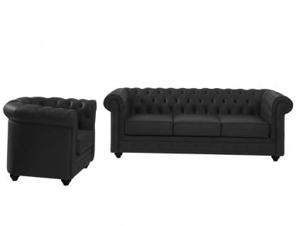 Couchgarnitur Leder 3+1 CHESTERFIELD - Büffelleder - Schwarz