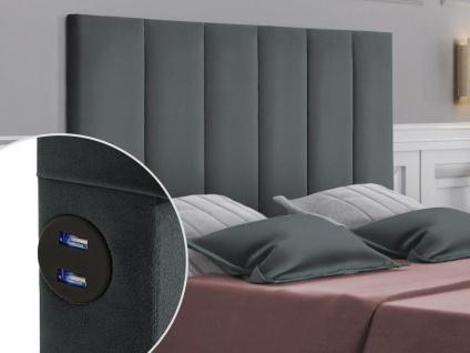 Bett-Kopfteil mit USB-Anschlüssen INGA - 140 cm - Samt - Grau