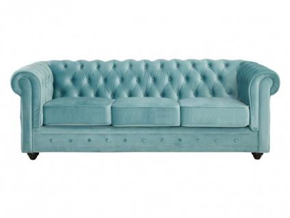 3-Sitzer-Sofa Chesterfield Samt ANNA - Blau - Vorschau 5