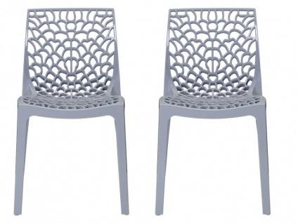 Stuhl 2er-Set stapelbar Diadem - Kunststoff - Grau