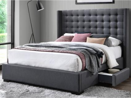 Bett mit Kopfteil und Stauraum Stoff LEONCE - 160x200cm - Grau