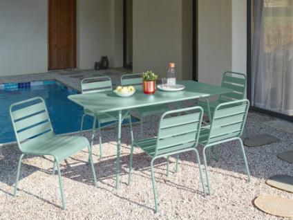 Garten Essgruppe MIRMANDE - Tisch L. 160 cm & 6 Stühle - Grün