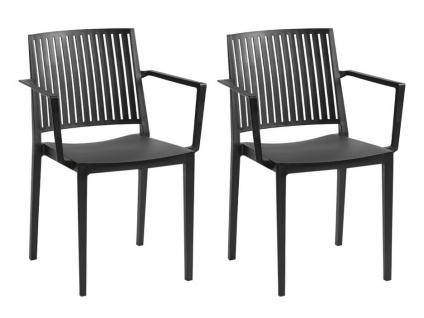 Stuhl stapelbar mit Armlehnen 2er-Set BAIA - Polypropylen - Schwarz