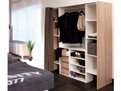 Sparset: Kleiderschranksystem mit Kommode EMERIC - Weiß-Eichefarben & Taupe