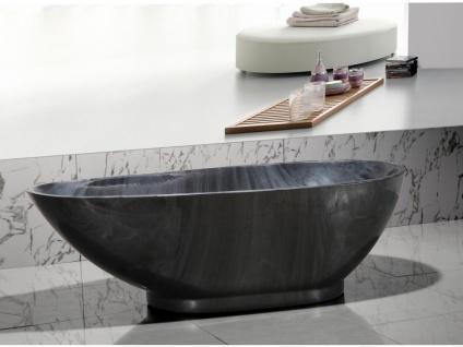 Freistehende Badewanne Marmor-Optik MARBELA - 180x85x58cm - Schwarz - Vorschau 1
