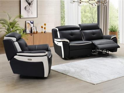 Relaxsofagarnitur Leder elektrisch 3+1 ANGELIQUE - Schwarz & Weiß