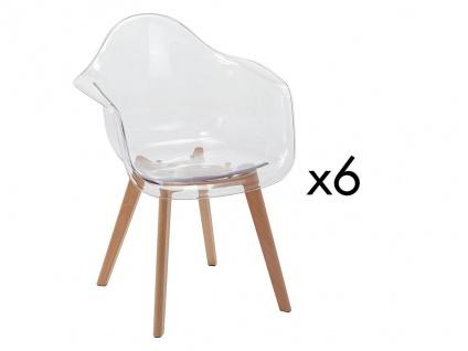 Stuhl mit Armlehnen 6er-Set VIXI - Polycarbonat & Buche - Transparent